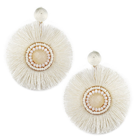 BEADED CIRCLE FRINGE EARRING - IVORY