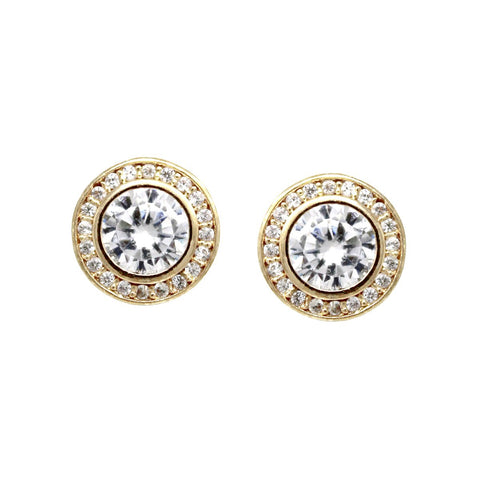 BITZ CZ Pave Disc Stud Earrings - Gold