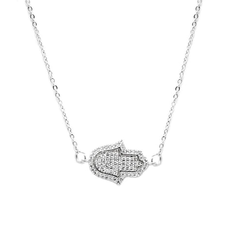 BITZ HAMSA HAND CZ PAVE SHORT NECKLACE