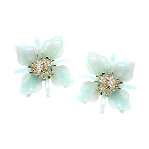 OVERSIZED GLASS BEAD FLOWER STUD EARRING - MINT