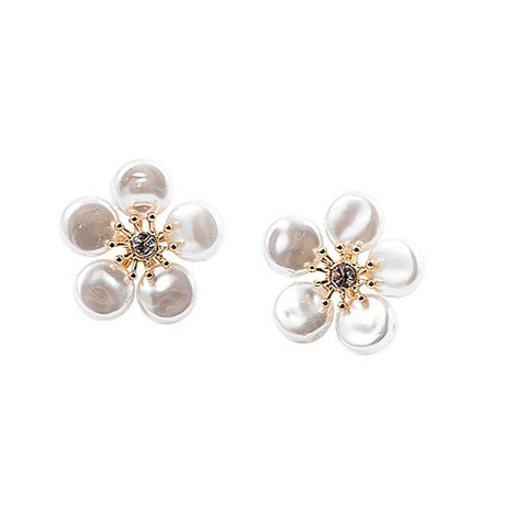 BITZ PEARL FLOWER STUD EARRING W/ CZ CENTER