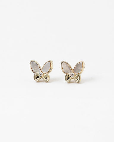 BITZ MOTHER OF PEARL BUTTERFLY STUD EARRINGS - TWO OPTIONS