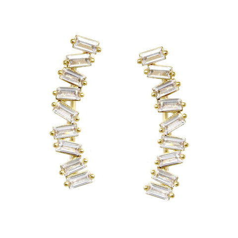 CZ PAVE CURVED BAGUETTE GOLD DIPPED EARRINGS - GOLD EAR CRAWLERS
