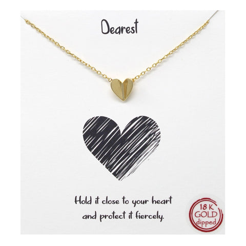 BITZ Tell Your Story: Dearest Folded Heart Pendant Simple Chain Short Necklace - GOLD