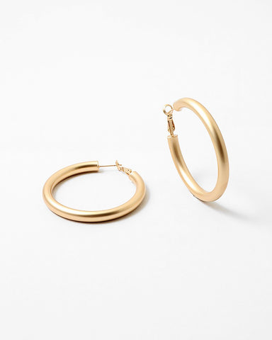 BITZ MATTE GOLD COATED HOOP EARRING- SMALL