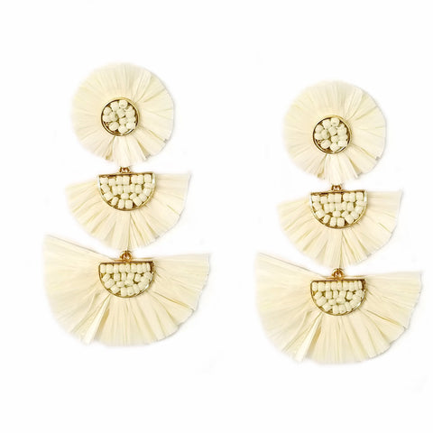 RAFFIA EARRINGS - IVORY