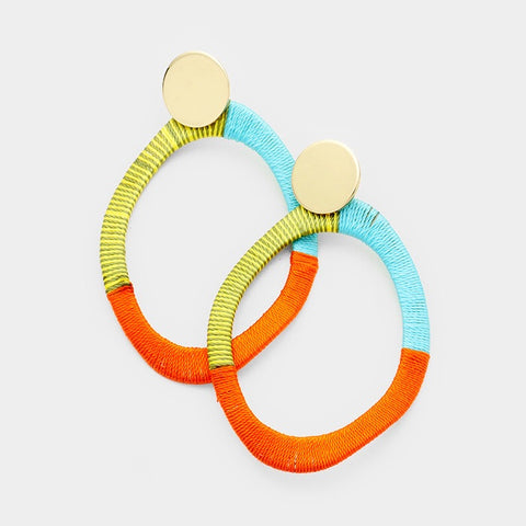 BITZ WAVY OVAL HOOP EARRING - ORANGE