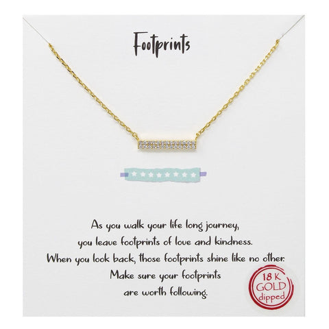 BITZ Tell Your Story: Footprints Bar Pendant Simple Chain Necklace - GOLD