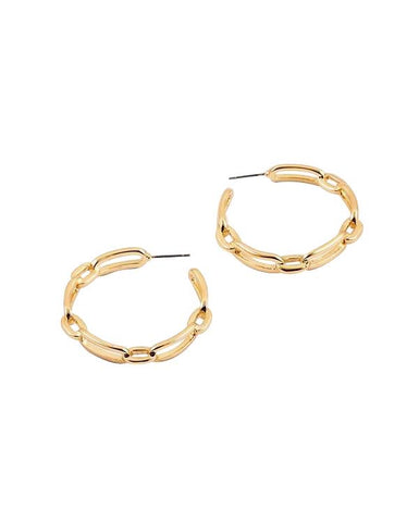 BITZ GOLD LINK CHAIN HOOP EARRINGS