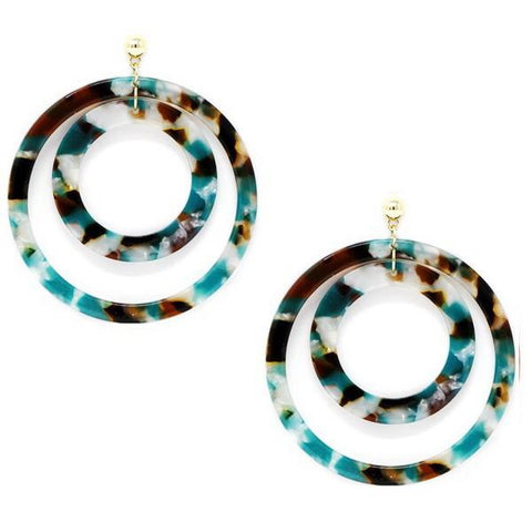 DOUBLE HOOP  EARRING 2.0 - TEAL