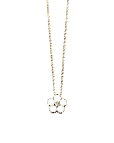 BITZ MOTHER OF PEARL FLOWER NECKLACE