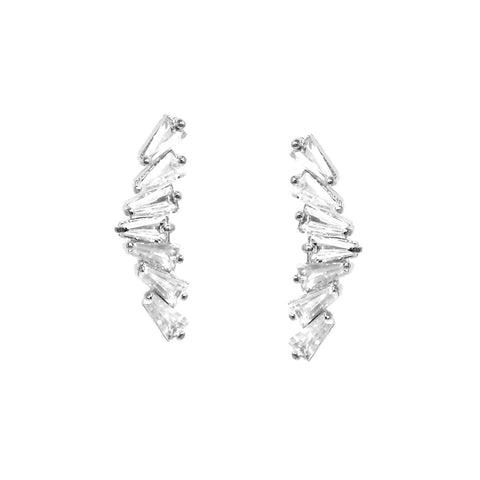 BITZ CZ PAVE GOLD DIPPED WING EARRINGS - EAR CRAWLER
