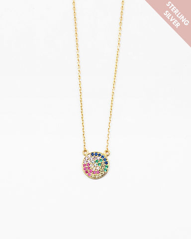 BITZ RAINBOW CIRCLE NECKLACE- 925 STERLING SILVER