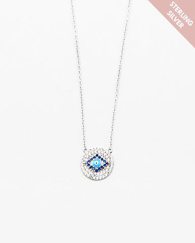 BITZ EVIL EYE NECKLACE- 925 STERLING SILVER