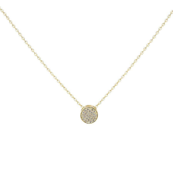 BITZ CUBIC ZIRCONIA PAVED MINI ROUND PENDANT SHORT NECKLACE GOLD/SILVER
