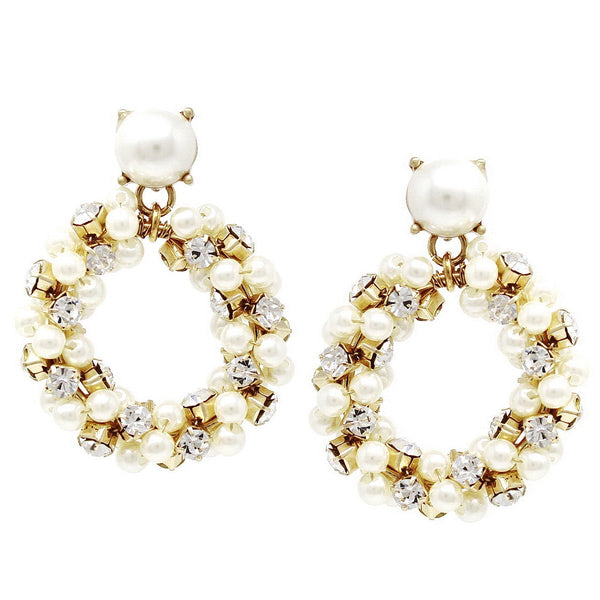 BITZ  VINTAGE PEARL STATEMENT EARRING - IN STOCK!
