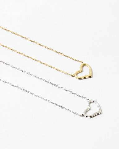BITZ SILVER PLAIN HEART DELICATE NECKLACE - 925 STERLING SILVER