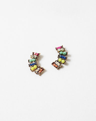 BITZ RAINBOW EAR CUFF CRAWLER STUD EARRINGS