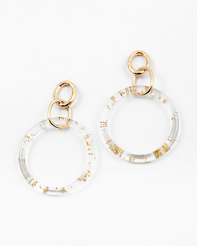 BITZ LUCITE N GOLD CIRCLE EARRING