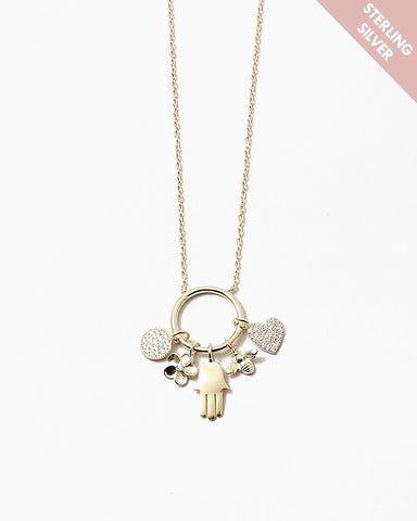 BITZ LUCKY CHARM NECKLACE - HAMSA FLOWER BEE N HEART