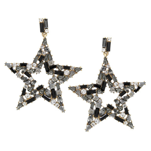 BITZ STAR FALL STATEMENT EARRING - BLACK
