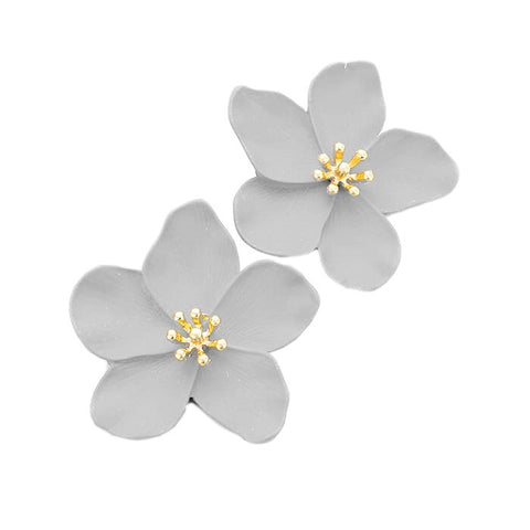 BITZ BLOOM FLOWER STUD EARRING - GREY