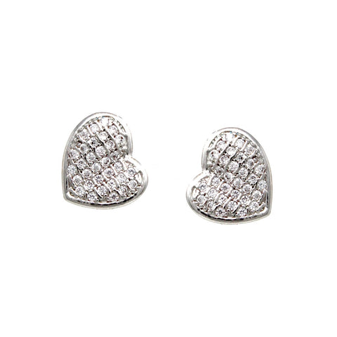 BITZ CZ Pave Heart Shape Stud Earrings
