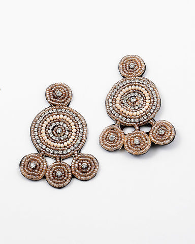 BITZ BOHO STATEMENT EARRING - TAN