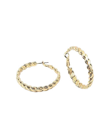 BITZ CHIC GOLD BRAID CHAIN HOOP EARRINGS - IN STOCK