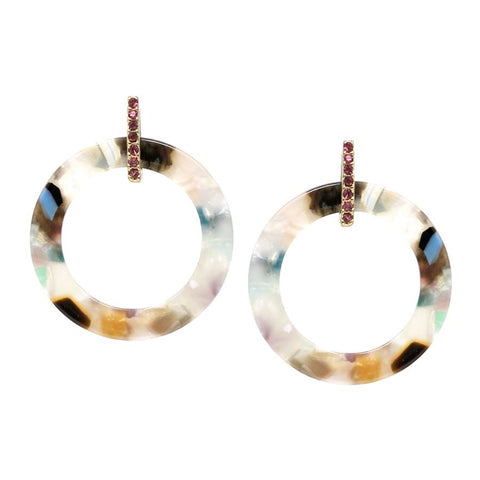 BITZ GLASS STONE HOOP DANGLE EARRING