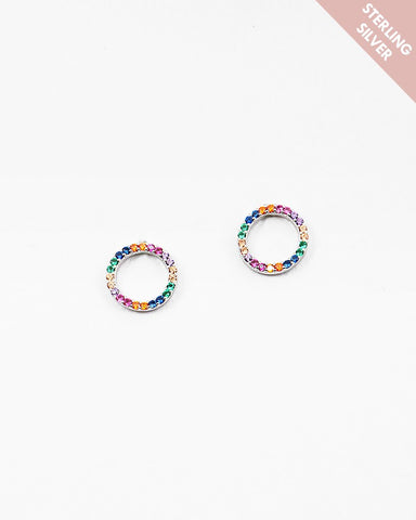 BITZ RAINBOW STERLING SILVER CIRCLE STUD EARRING