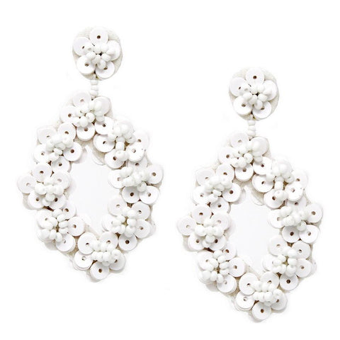BITZ BEAD N SEQUIN FLOWER HOOP DROP EARRINGS