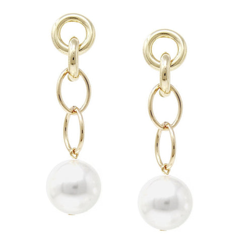 BITZ PETITE LINK CHAIN PEARL GOLD DROP EARRING