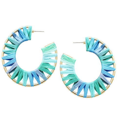 BITZ MINT BURST RAFFIA WRAPPED HOOP EARRINGS
