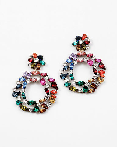 BITZ RAINBOW GLAM STATEMENT EARRING - IN STOCK!
