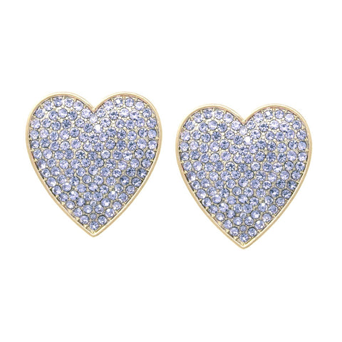 BITZ OVERSIZED Rhinestone Pave Heart Stud Earrings - 4 COLORS