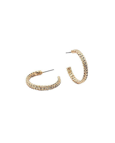 BITZ HERRINGBONE BRAID HOOP EARRING