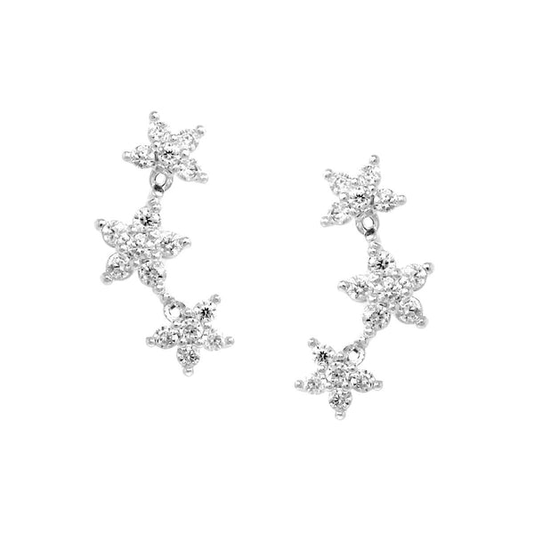 BITZ CZ PAVE Triple Star Gold Dipped Stud Earrings - CRAWLERS - 2 COLOR OPTIONS