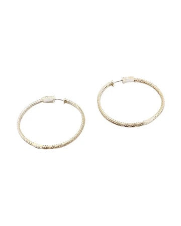 NEW! BITZ PAVE CZ HOOP EARRING SMALLER SIZE - GOLD OR SILVER OPTION