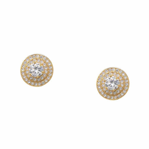 BITZ CZ Pave Round Stud Earrings