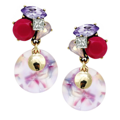 BITZ MINI STATEMENT DISC EARRING - FUSCHIA