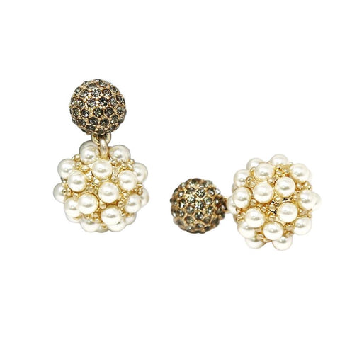 BITZ GLASS STONE CLUSTER TOP WITH PEARL EMBELLISHED BALL DROP EARRINGS 2 COLOR OPTIONS