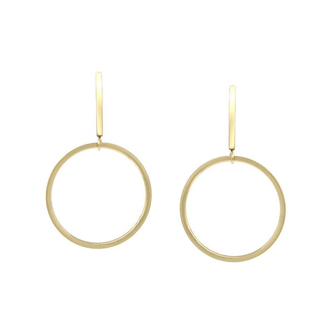 BITZ SKINNY BAR HOOP DROP EARRINGS - GOLD