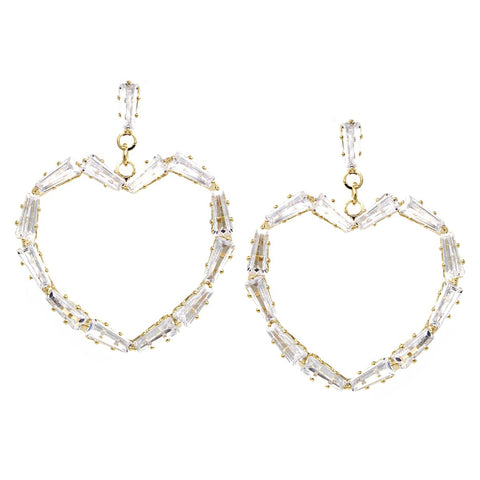 BITZ CZ Pave Heart Hoop Drop Earrings