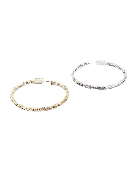 NEW! BITZ PAVE CZ HOOP EARRING LARGE - GOLD OR SILVER OPTION
