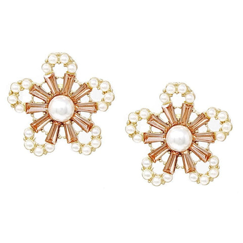 BITZ PEARL AND GLASS STONE EMBELLISHED FLOWER STUD EARRINGS 3 COLOR OPTIONS