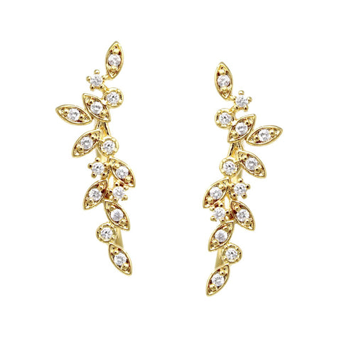 BITZ CZ VINE LEAF EARRING EAR CRAWLER - 2 COLOR OPTIONS GOLD OR SILVER