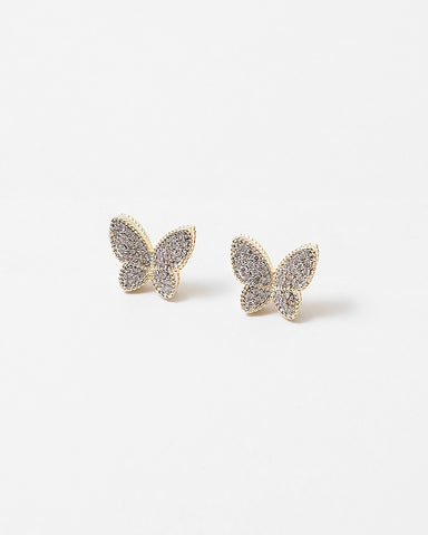 BITZ CZ BUTTERFLY STUD EARRINGS