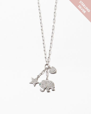 BITZ LUCKY CHARM NECKLACE  ELEPHANT SILVER