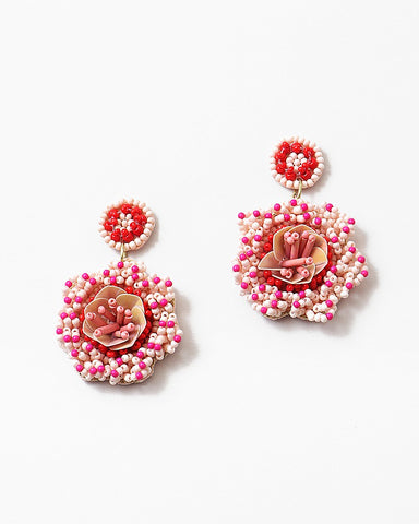 BITZ HANDMADE BEADED FLOWER EARRING
